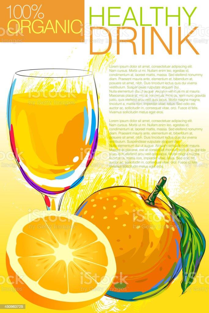 Fresh Orange and Juice royalty-free stock vector art