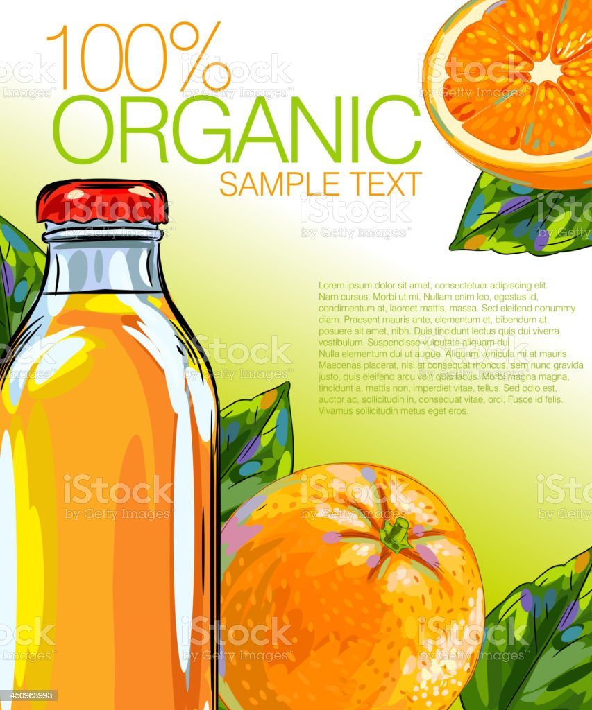 Fresh Orange and Juice royalty-free stock vector art