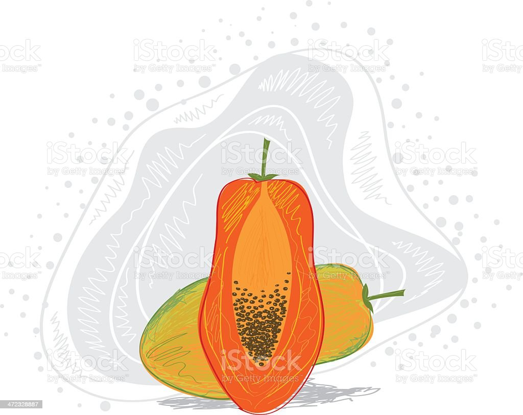 Fresh Papaya royalty-free stock vector art