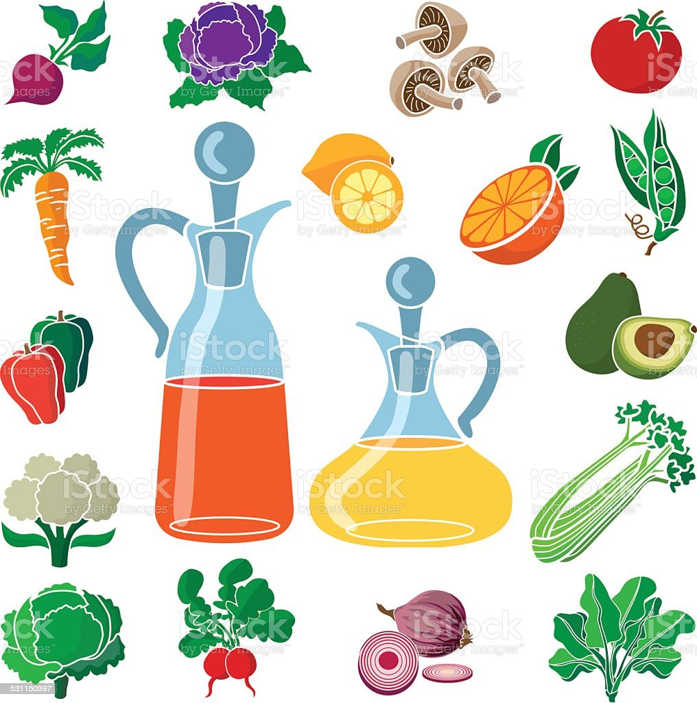 fresh produce for a healthy salad with oil and vinegar vector art illustration