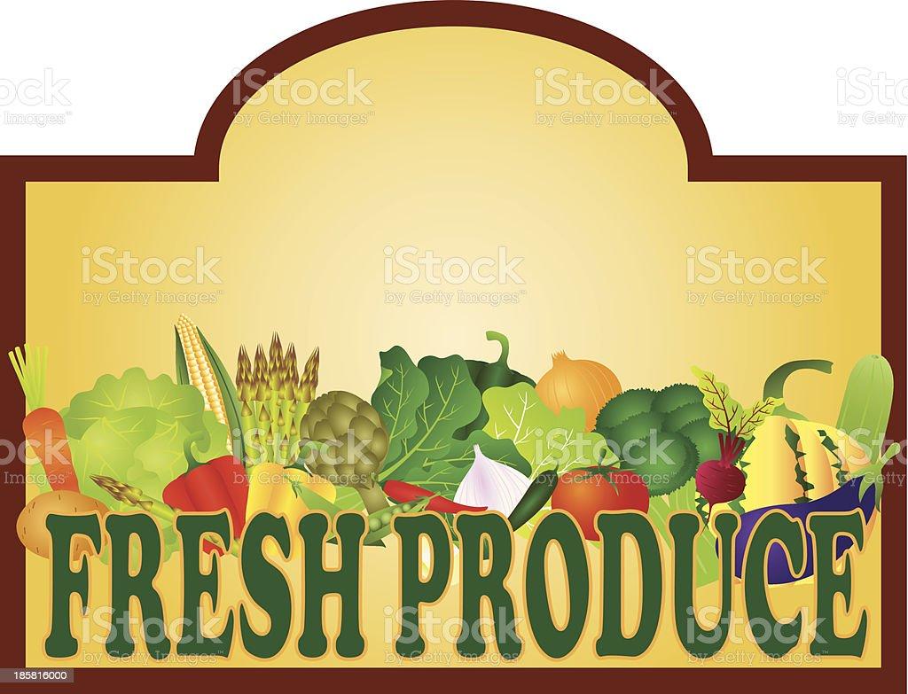 Fresh Produce Signage Vector Illustration royalty-free stock vector art