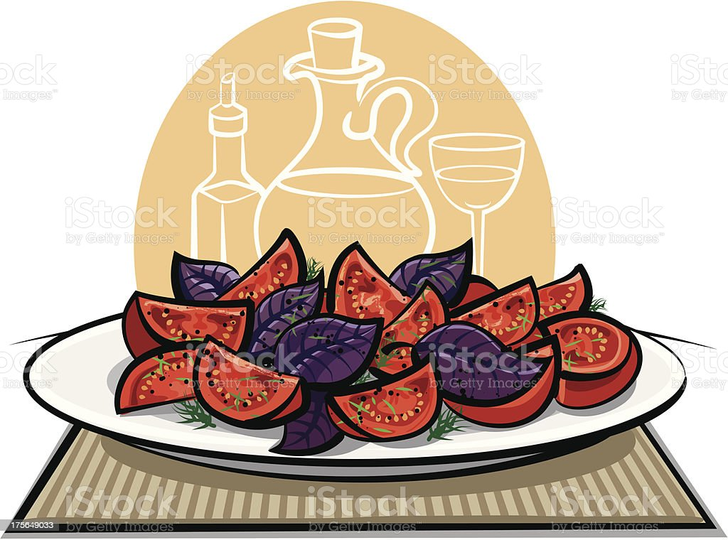 fresh salad with tomatoes and basil vector art illustration