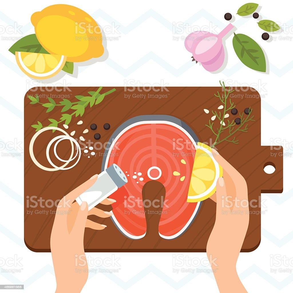 Fresh salmon steak with aromatic herbs. Vector illustration vector art illustration