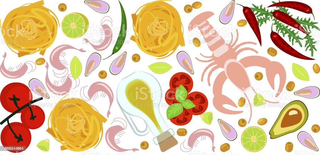 Fresh seafood flat design vector art illustration