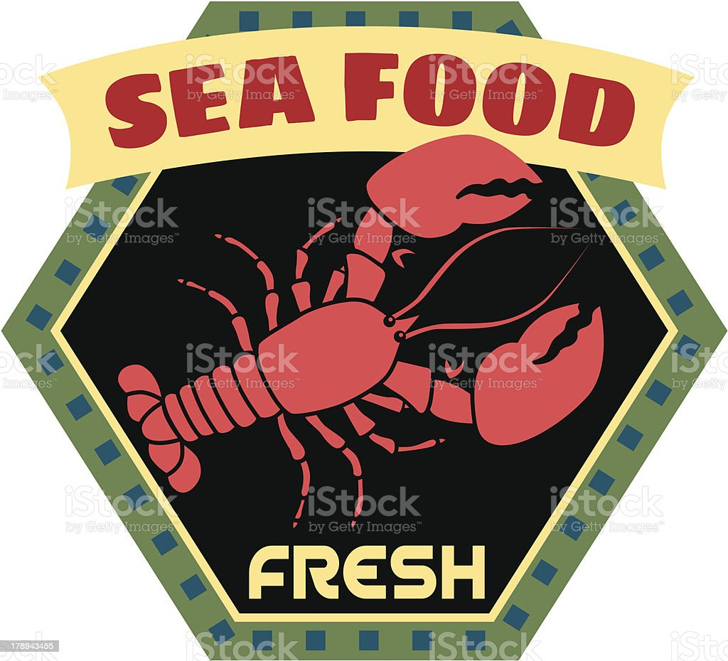 fresh seafood travel sticker or luggage label royalty-free stock vector art
