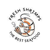 fresh shrimp logo with water drop