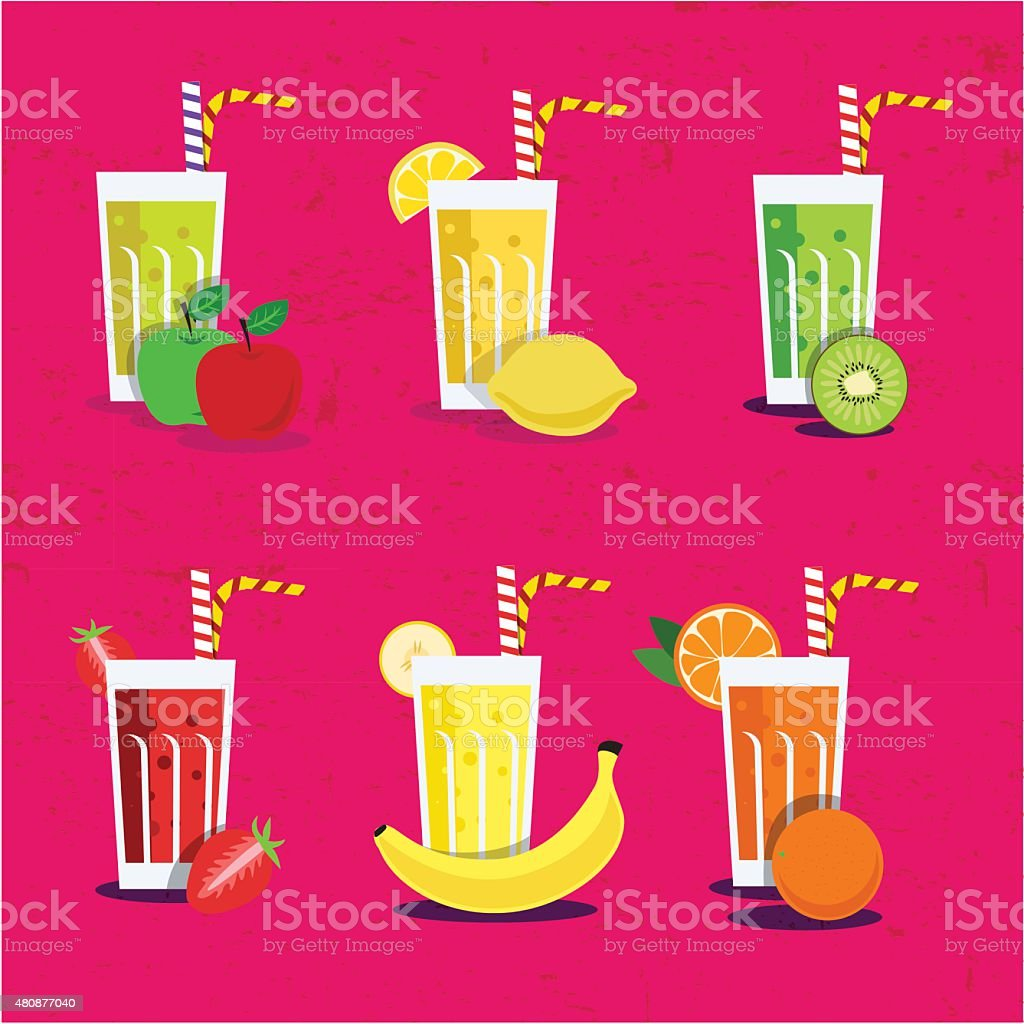 Fresh smoothies set vector art illustration