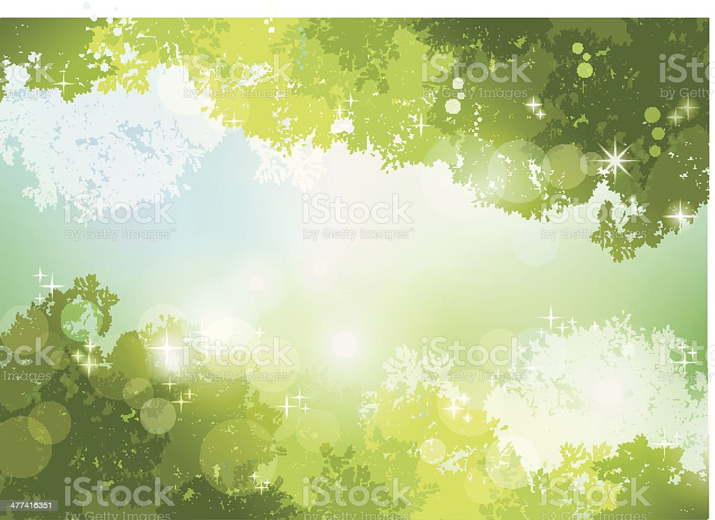 Fresh Spring Green background with soft sun light vector art illustration
