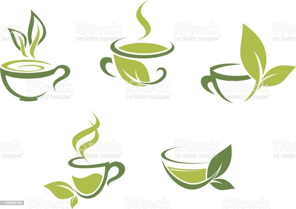 Fresh tea and green leaves vector art illustration