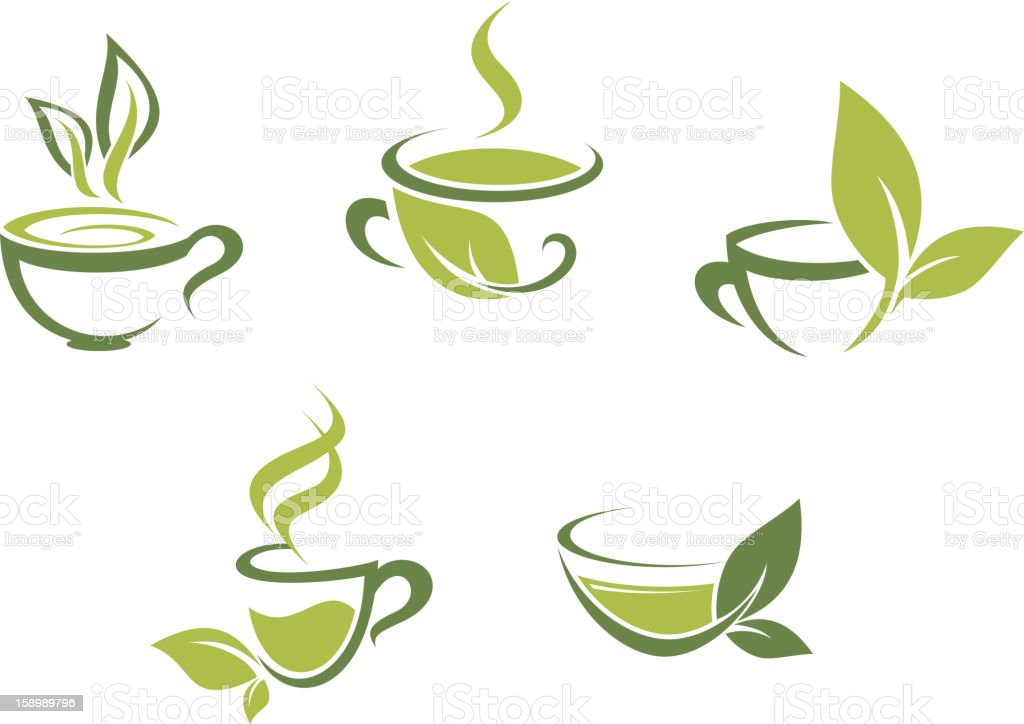 Fresh tea and green leaves vector art illustration