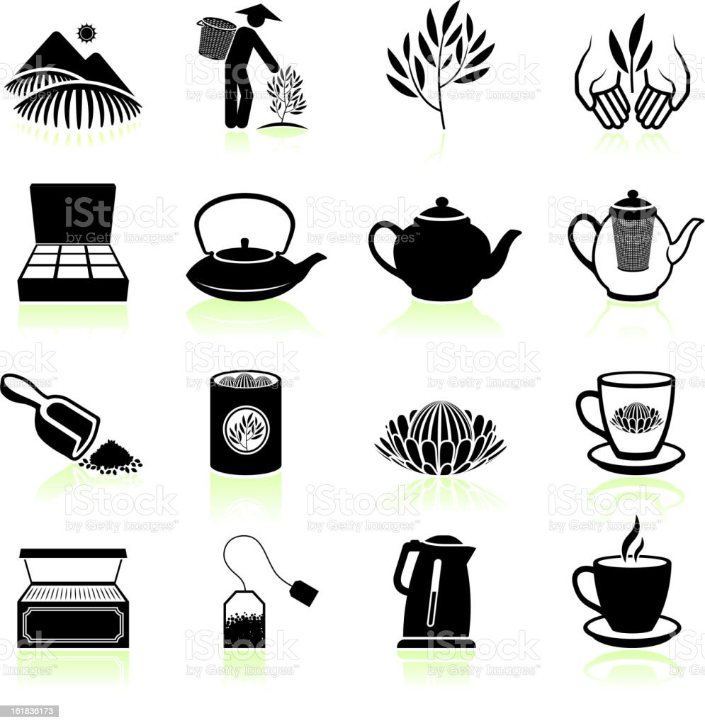 Fresh Tea black & white royalty free vector icon set vector art illustration