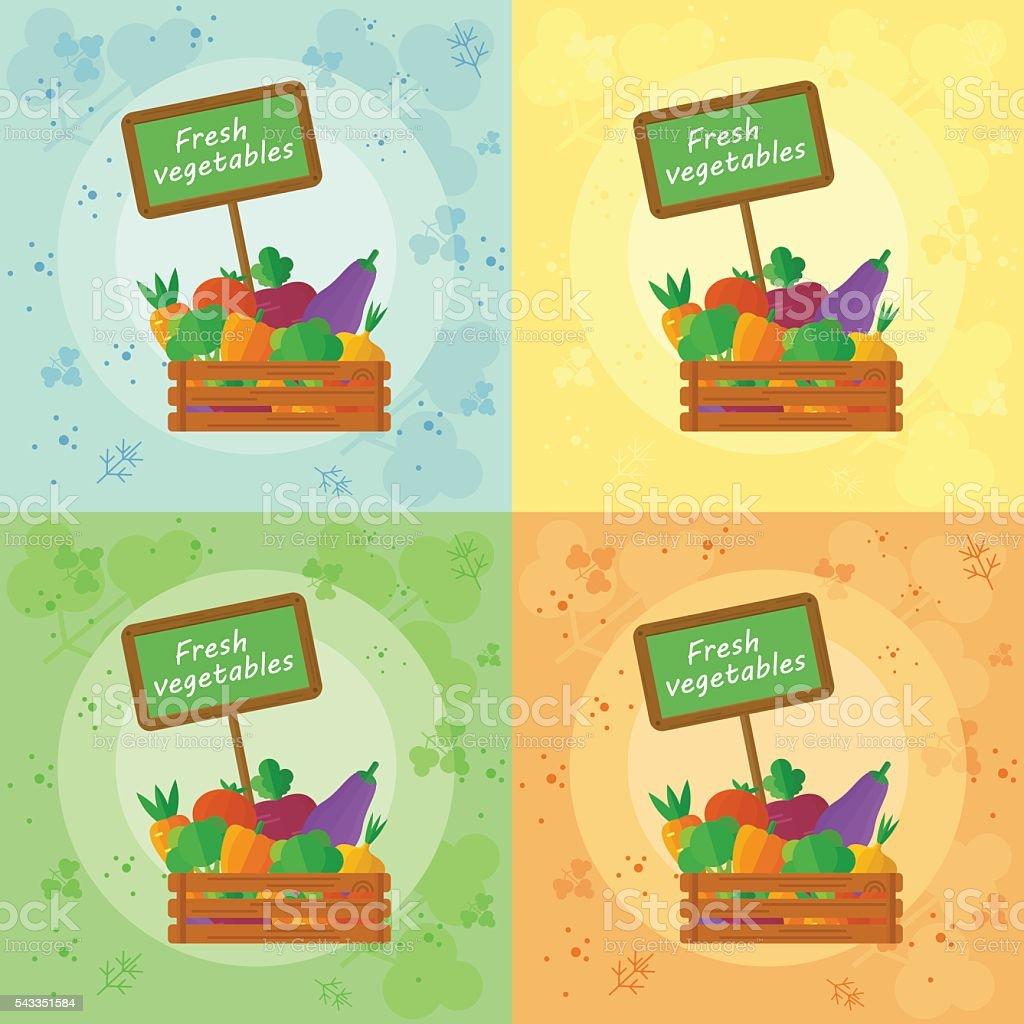 fresh vegetables all seasons vector art illustration