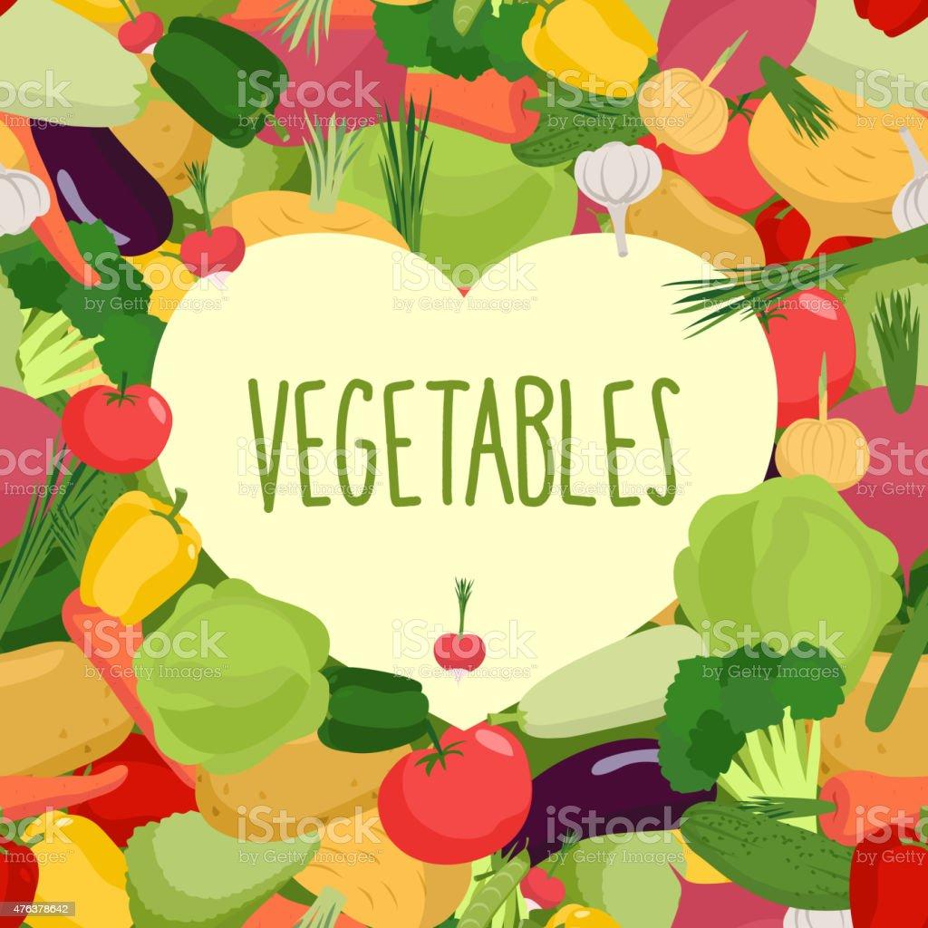 Fresh vegetables. Heart in vegetables. Vector illustration vector art illustration