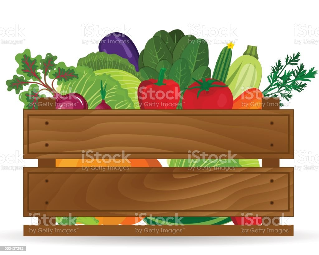 Healthy freshly harvested vegetables in a wooden crate and grocery...