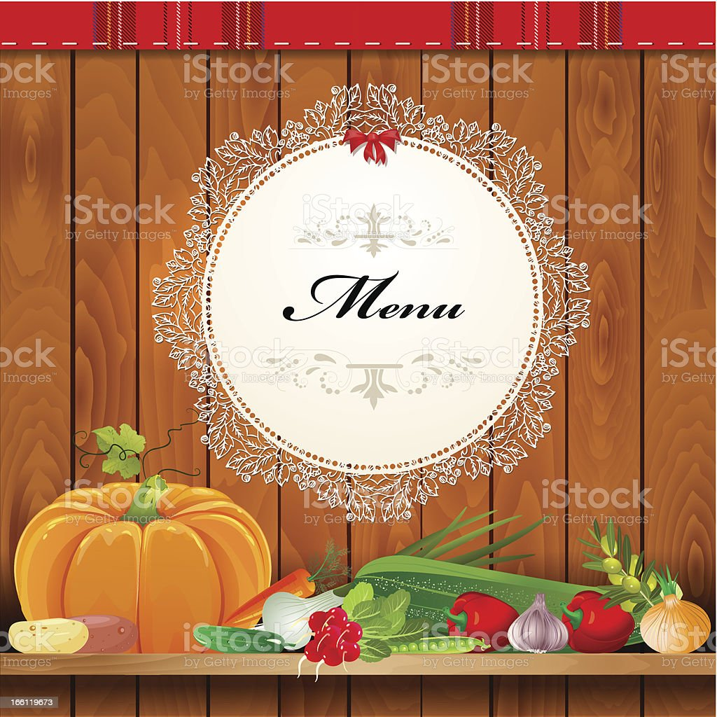 Fresh vegetables on wooden shelves for your design royalty-free stock vector art
