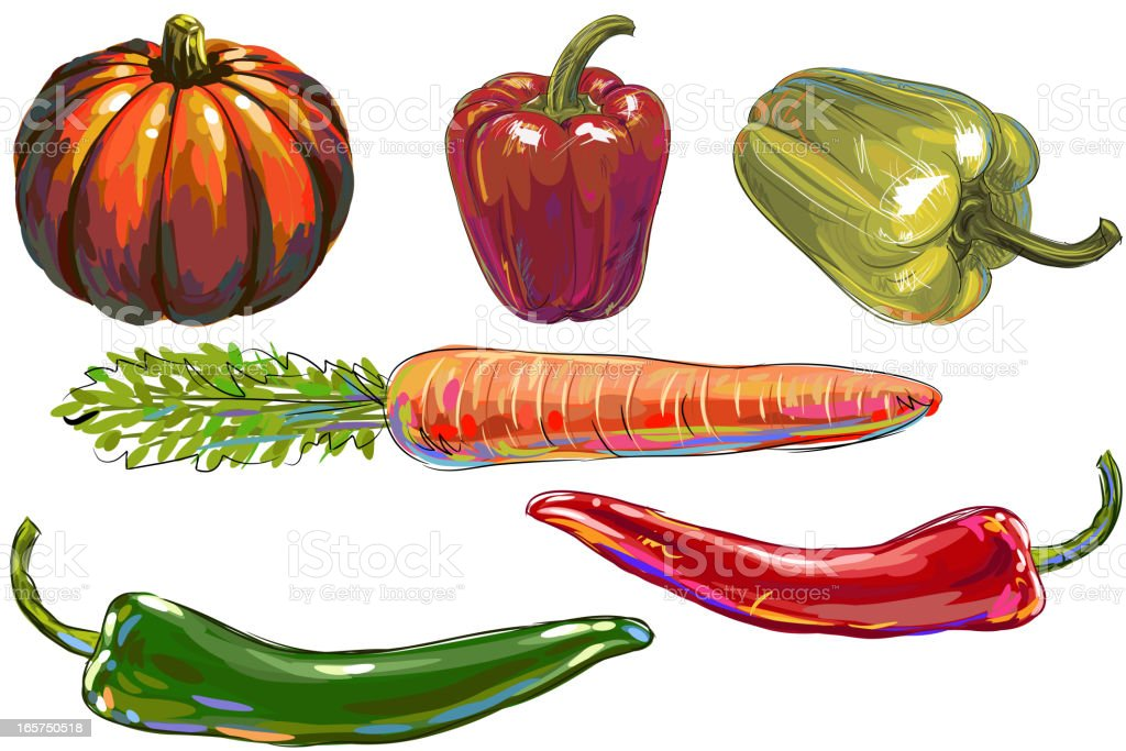 Fresh Vegetables vector art illustration