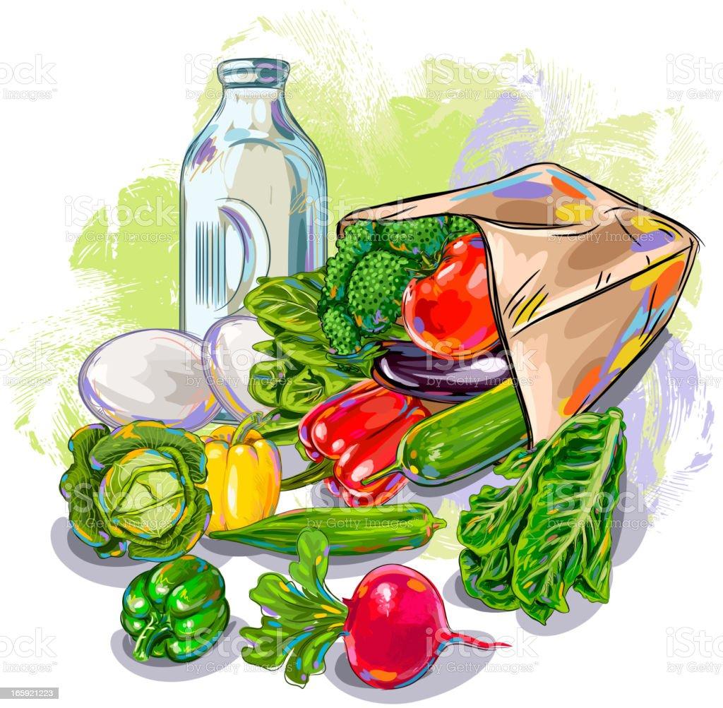 Fresh Vegetables royalty-free stock vector art