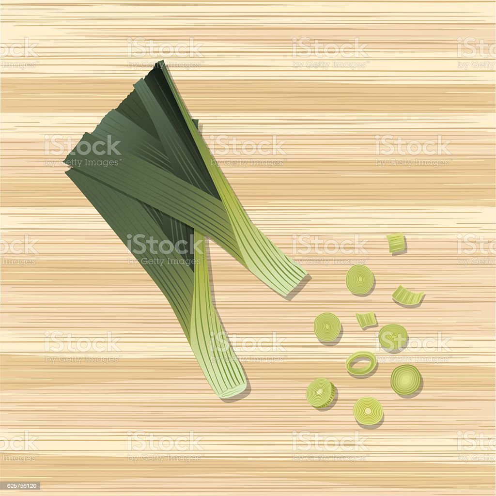 Fresh Vegetables: Whole And Sliced Leeks On Wood vector art illustration