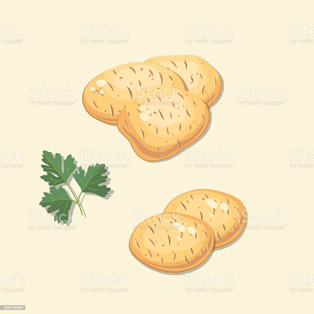 Fresh Vegetables: Whole Potatoes and Parsley vector art illustration