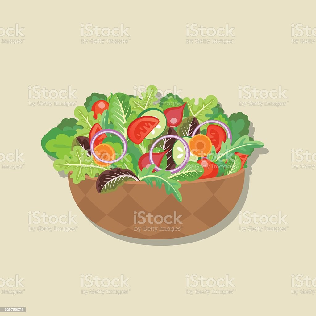 Fresh Vegetables: Wooden Bowl Of Salad vector art illustration