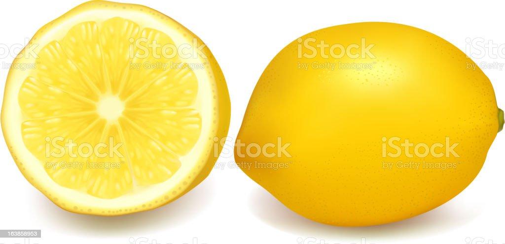 Fresh, yellow lemons on white background royalty-free stock vector art
