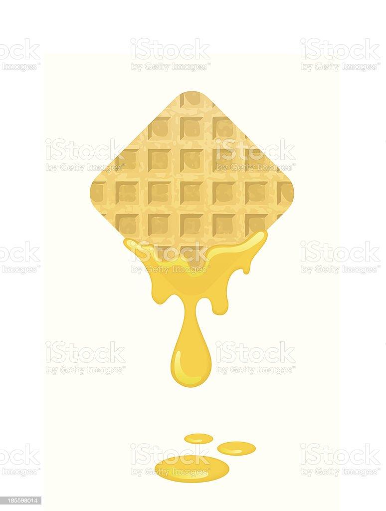 Freshly baked waffles with honey vector art illustration