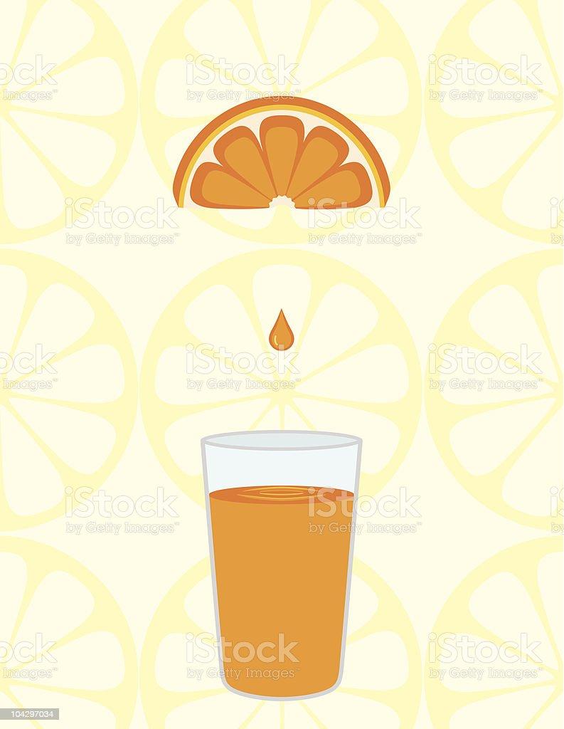 Freshly squeezed orange juice vector art illustration