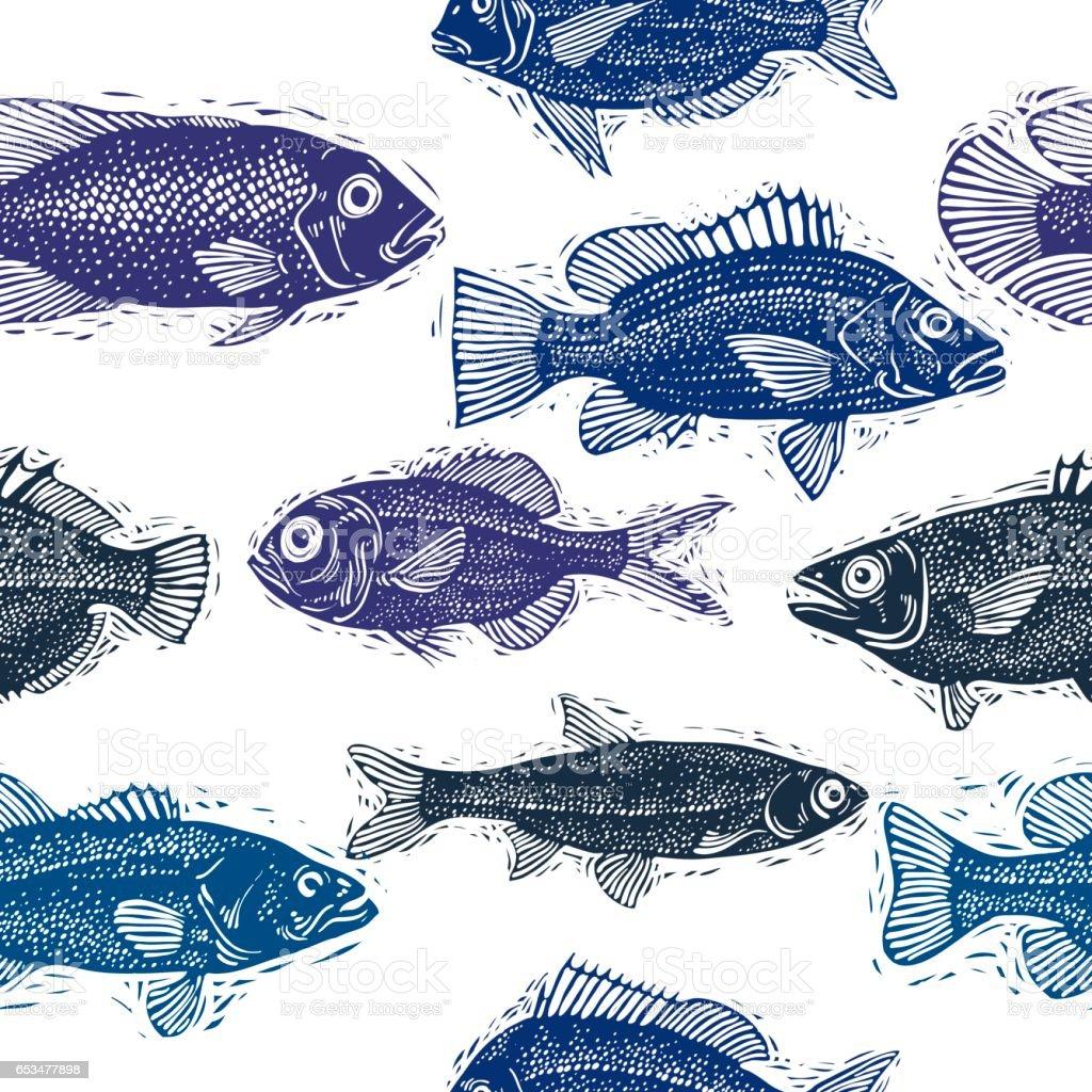 Freshwater fish art - Freshwater Fish Vector Endless Pattern Nature And Marine Theme Seamless Tiling Art Seafood Wallpaper