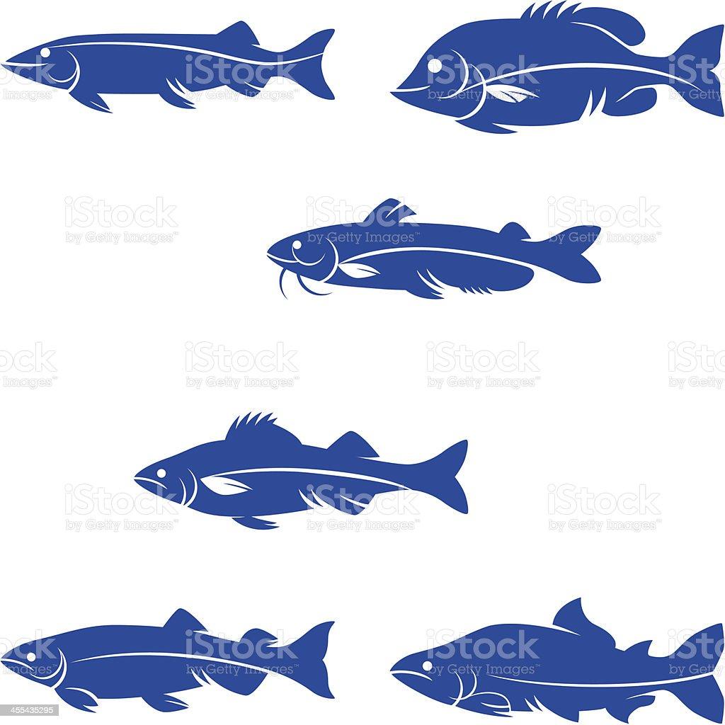 freshwater game fishes silhouette vector art illustration