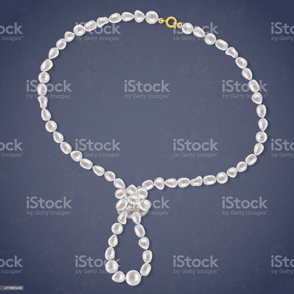 Freshwater Pearls Necklace with a loop on dark background. vector art illustration