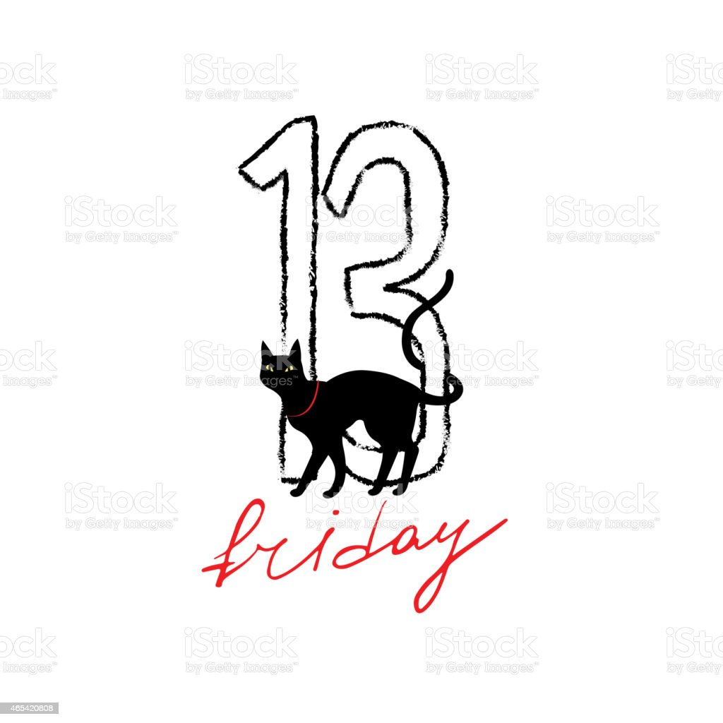 Friday 13th grunge illustration with numerals and black cat. vector art illustration