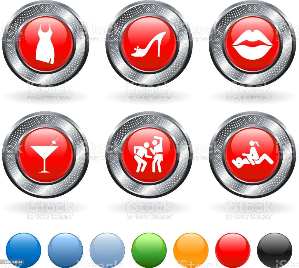 Friday night vector icon set on buttons with metallic border vector art illustration