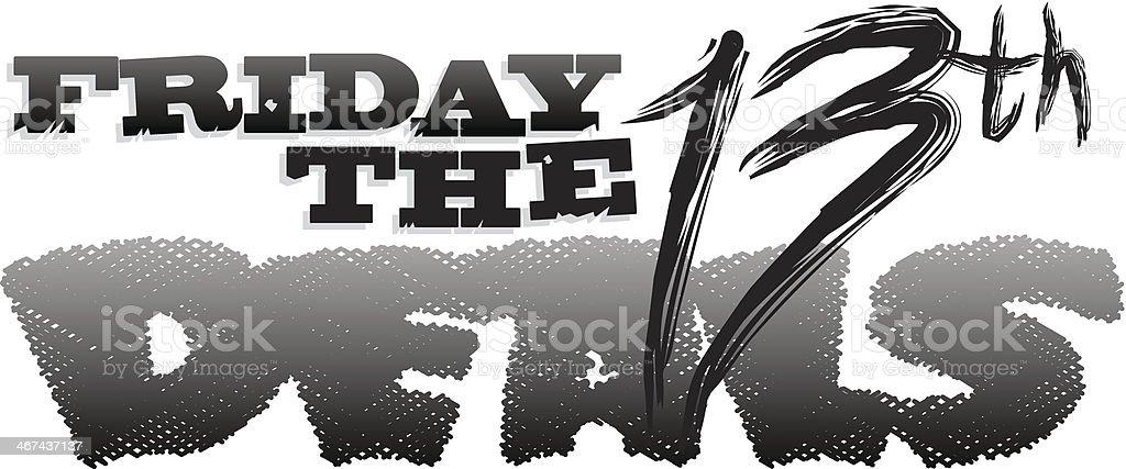 Friday The 13th Heading vector art illustration