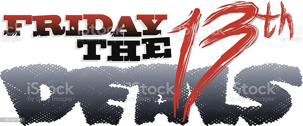 Friday The13th Heading vector art illustration