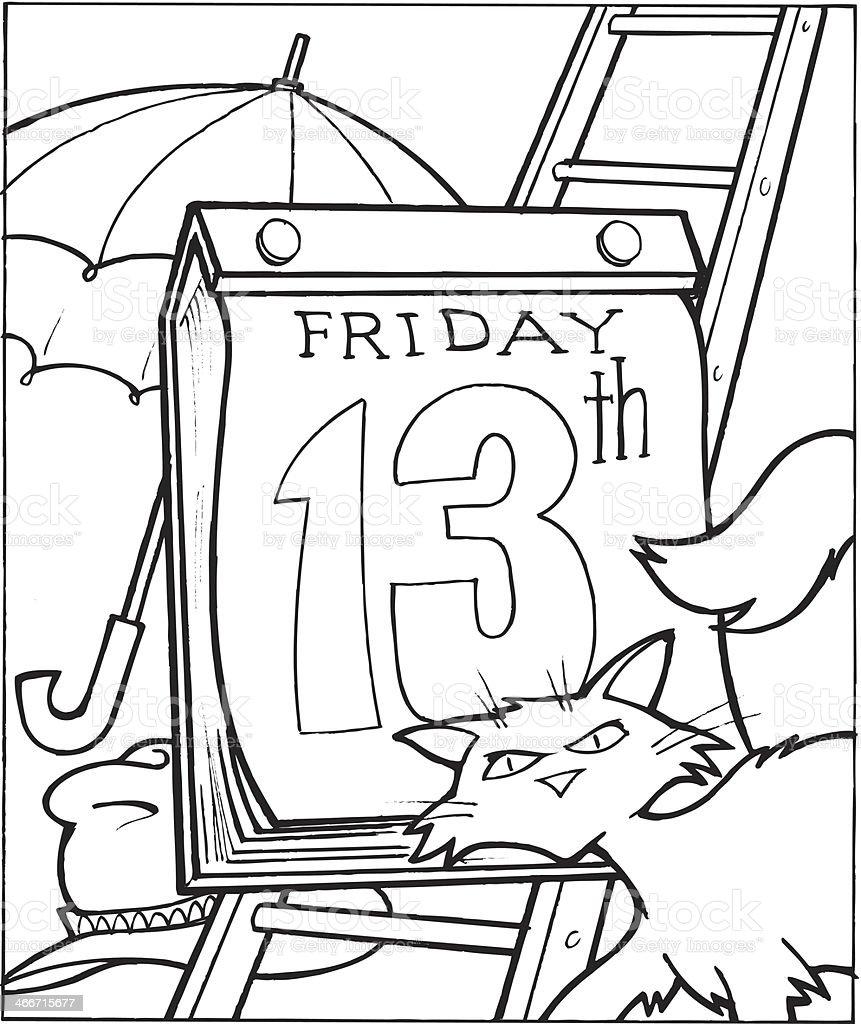 Friday Thirteenth vector art illustration