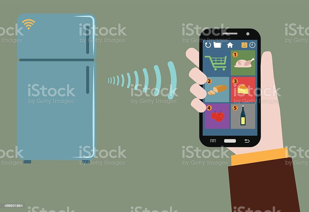 fridge tracking items inside and warn wirelessly what to by vector art illustration