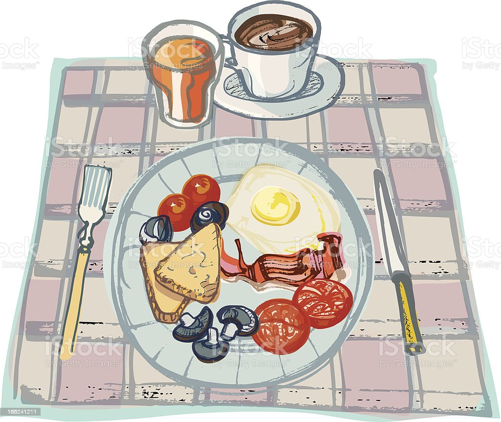 Fried Breakfast on Table  Cloth with Coffee and Orange Juice vector art illustration