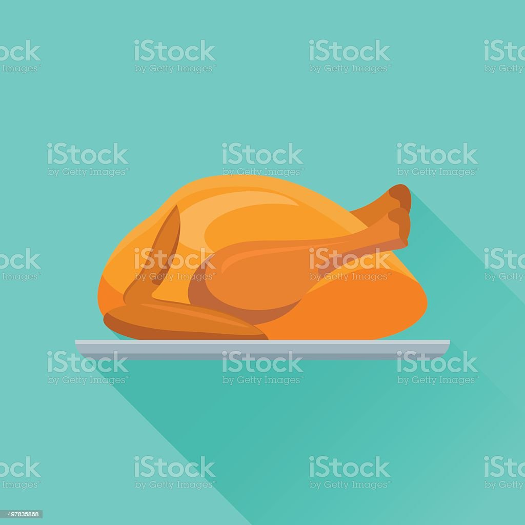 Fried chicken or turkey flat icon vector art illustration