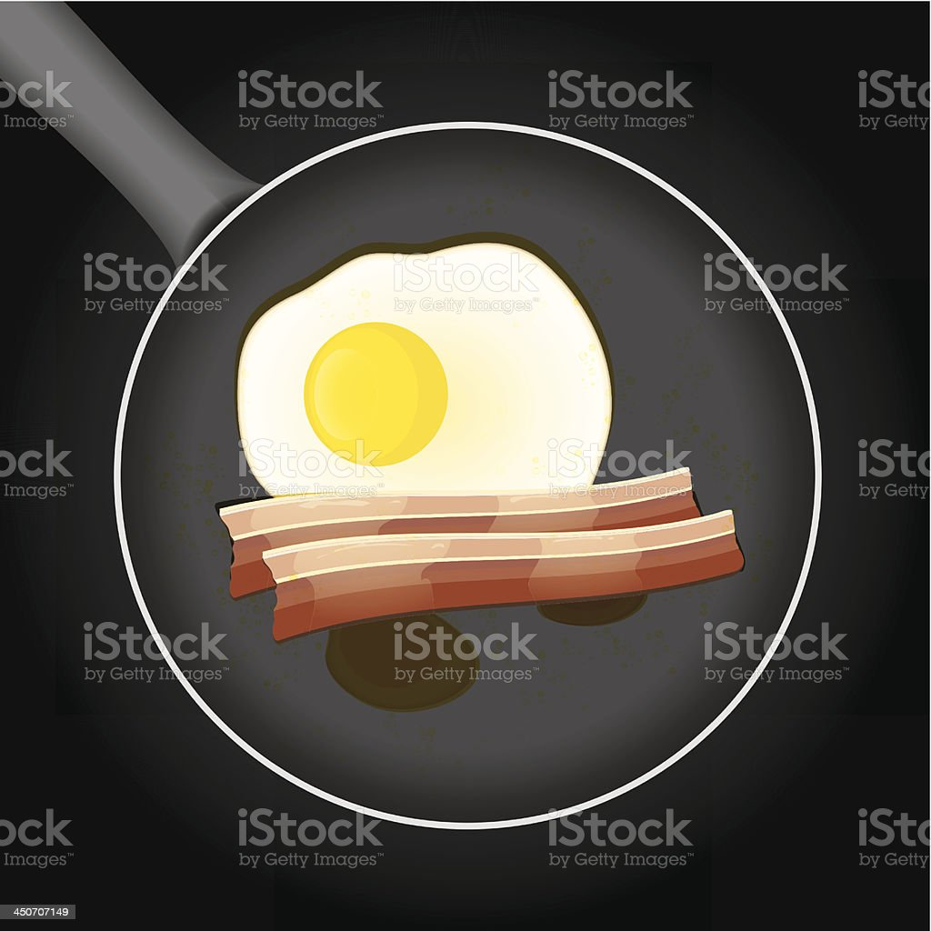 Fried egg and beacon in a frying pan with oil royalty-free stock vector art