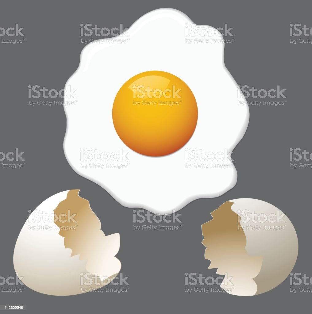 Fried egg and cracked shell graphic royalty-free stock vector art