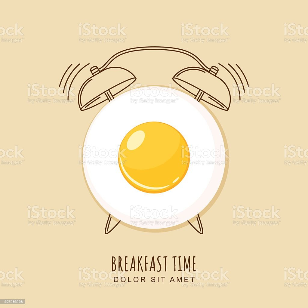 Fried egg and outline alarm clock, vector illustration of breakfast. vector art illustration