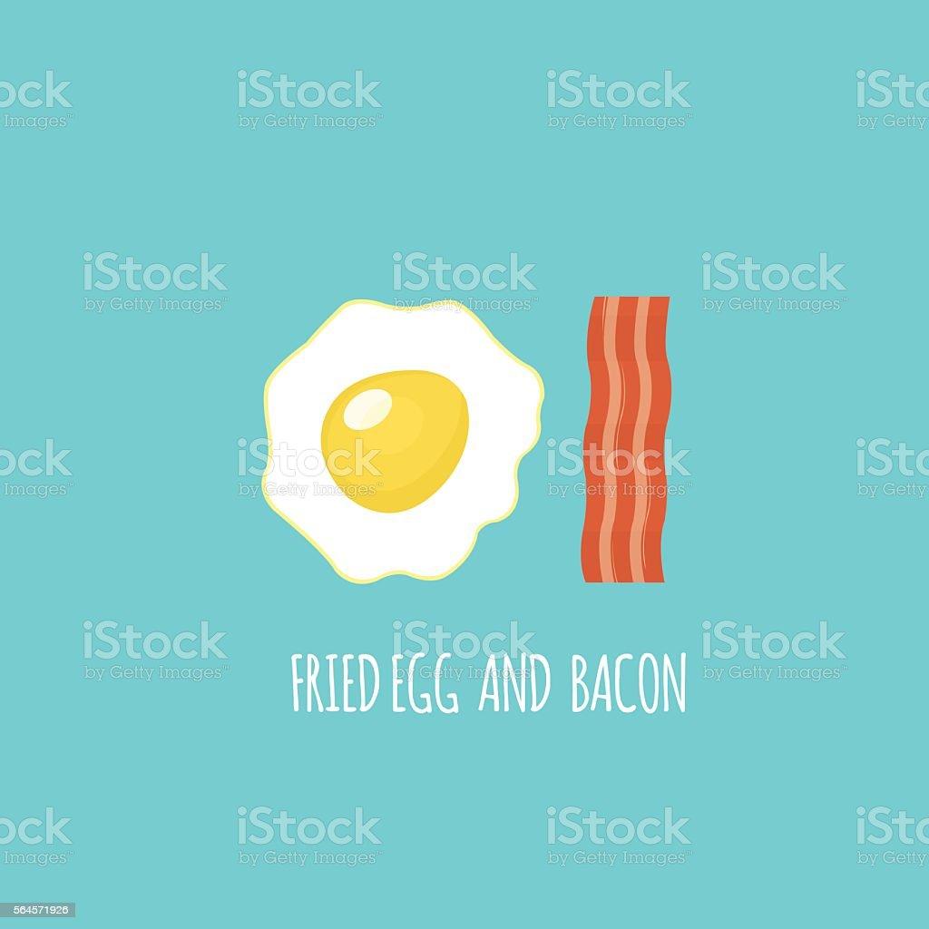 Fried Egg , Bacon. Vector vector art illustration