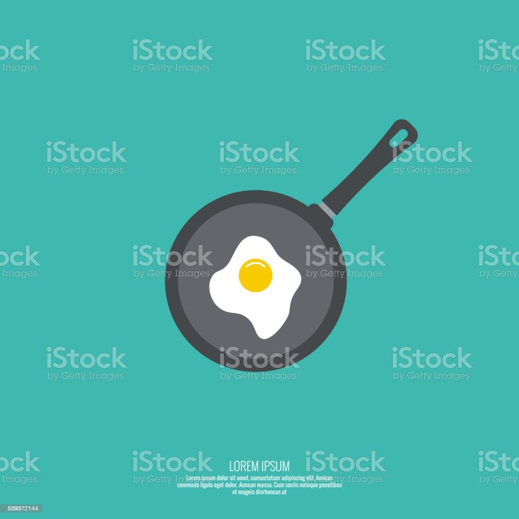 Fried egg in  frying pan. vector art illustration