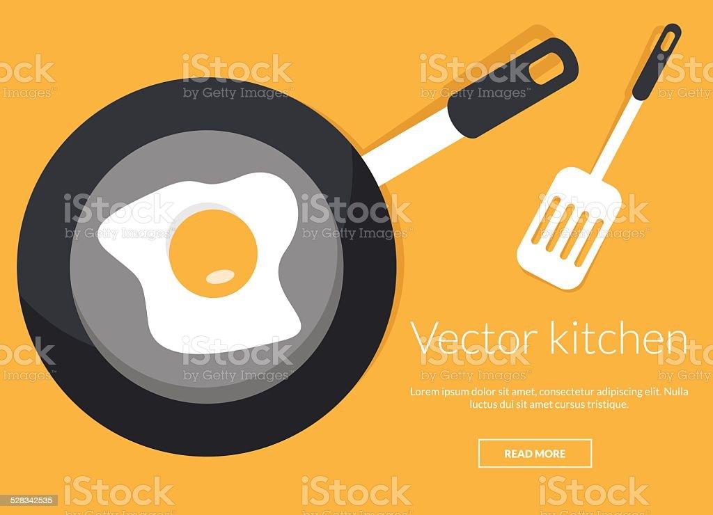 Fried egg on pan conceptual vector illustration vector art illustration