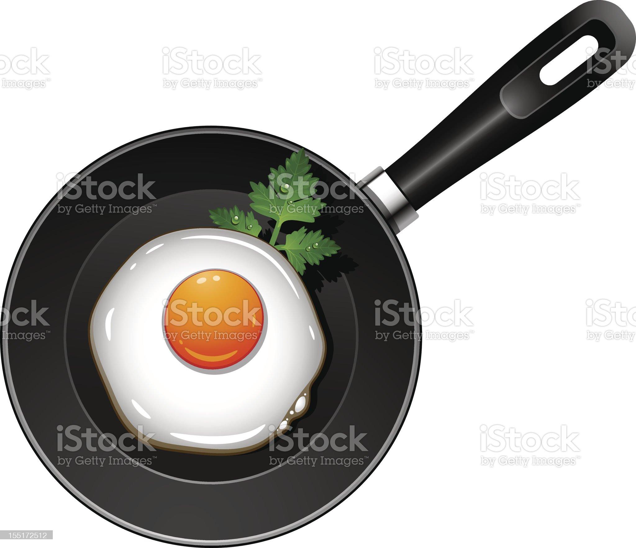 Fried egg on pan royalty-free stock vector art