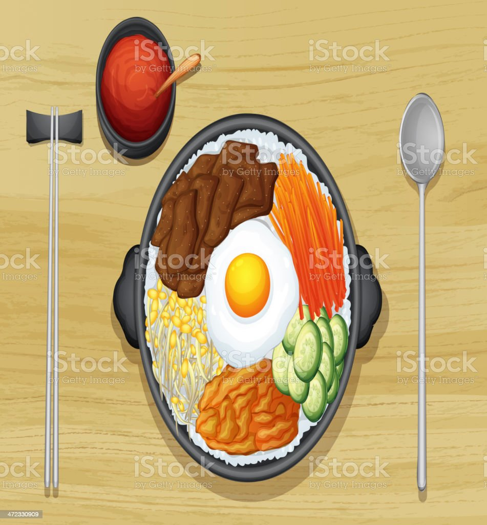 Fried egg with salad in dish royalty-free stock vector art