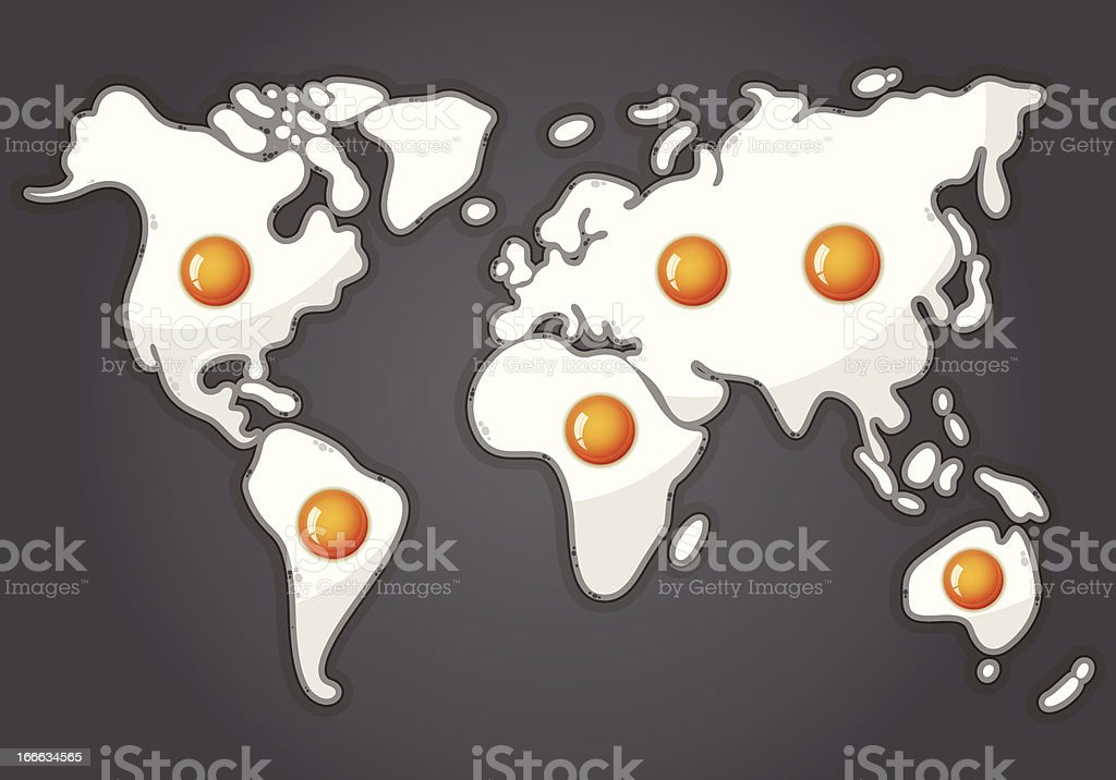 Fried eggs in a shape of world map royalty-free stock vector art