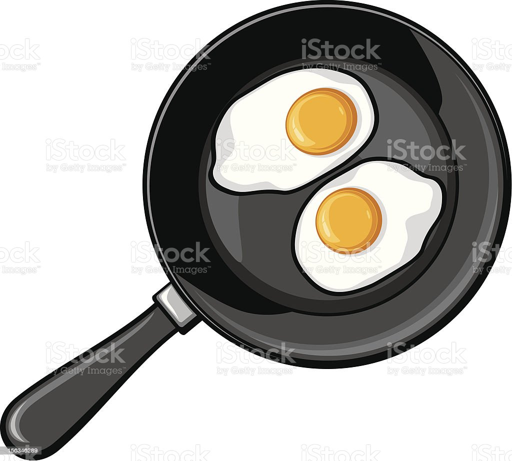 Fried eggs on frying pan royalty-free stock vector art