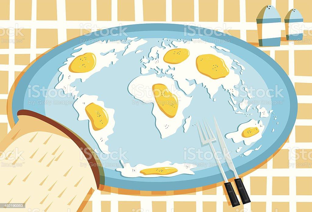 Fried Eggs World Map Breakfast royalty-free stock vector art