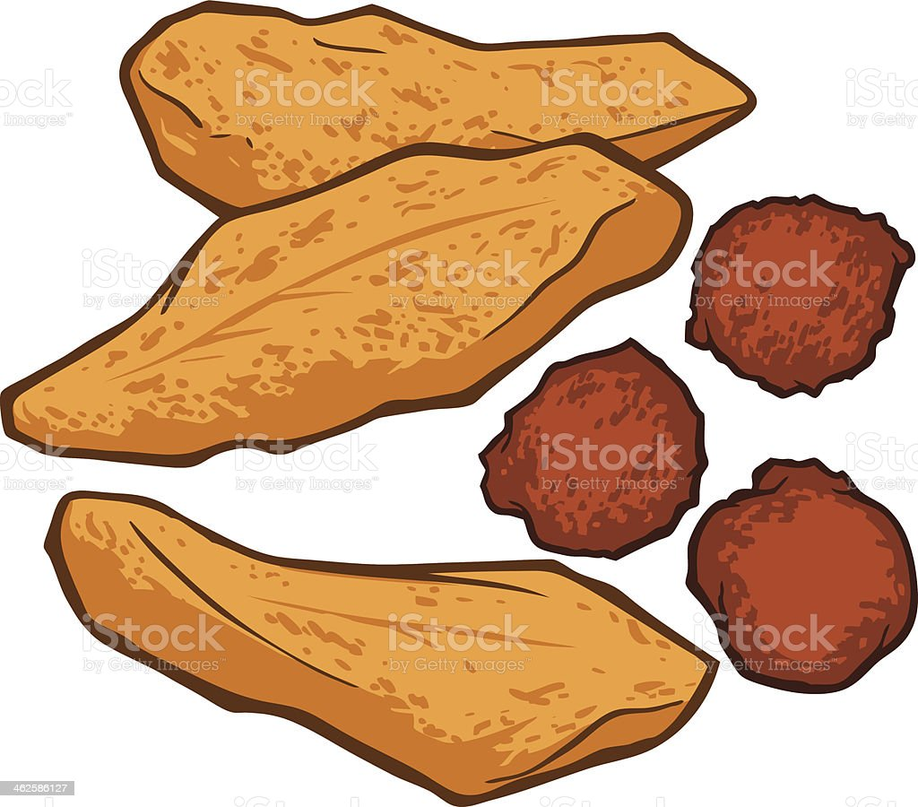 Fried Fish and Hushpuppies vector art illustration